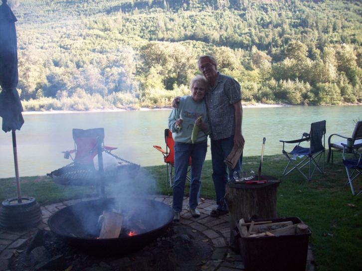 Ken and Garnet in Shangri-la on the Skagit River.