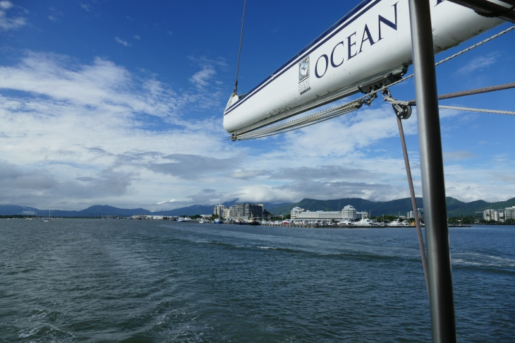 The Ocean Spirit Catamaran leaving Cairns