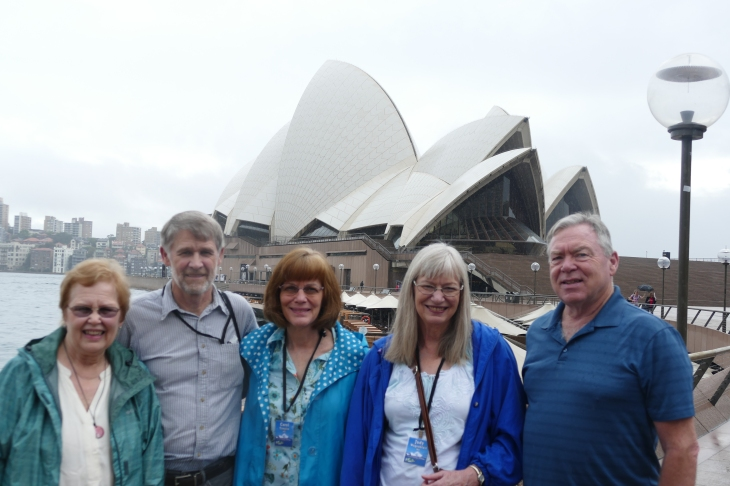 Garnet, Garrett, Carol, Judy, and Gary at the Sydney Opera House
