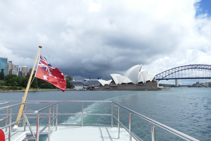 The flag of Australia, the Sydney Opera House, and the Harbor Bridge