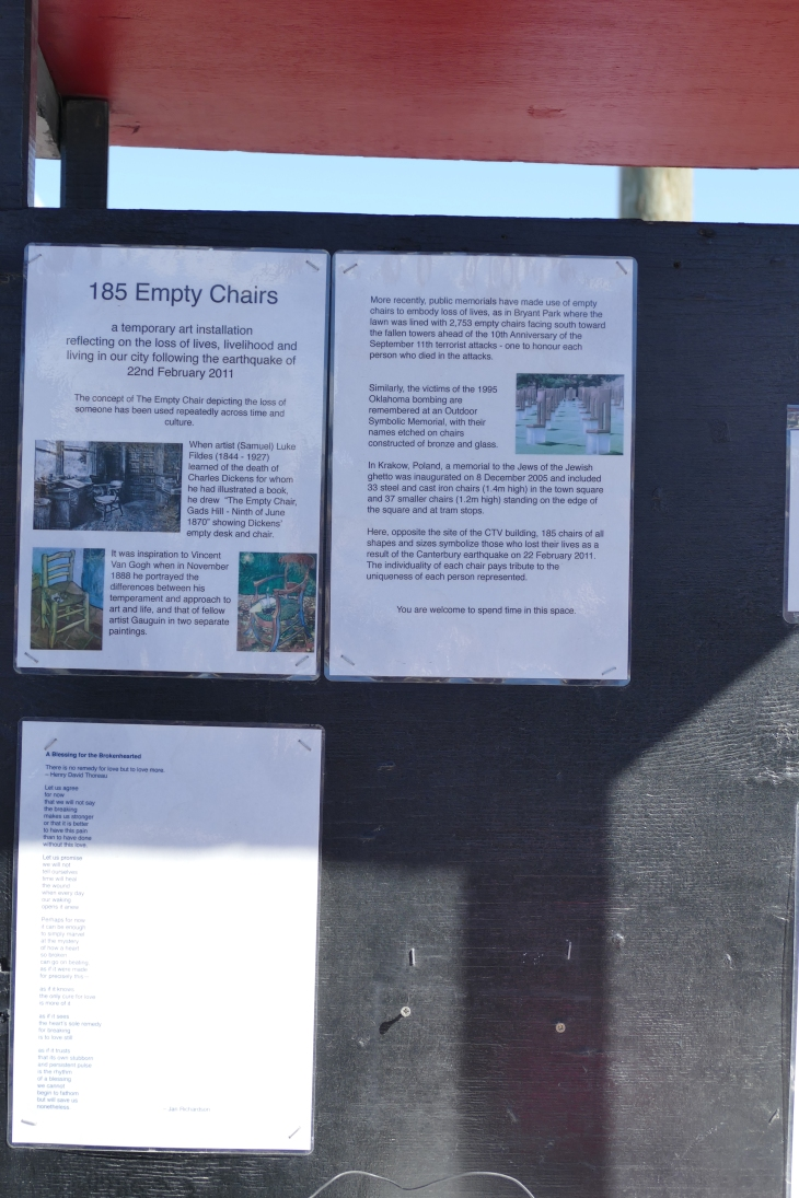 Explanation of Empty Chair Memorial, Christchurch NZ