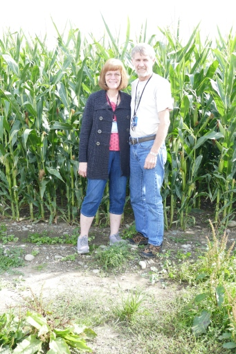 Garrett and Carole in the maize, corn field