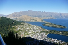 The view of Queenstown from the Skyline Restaurant-The Remarkables Mountains are in the background